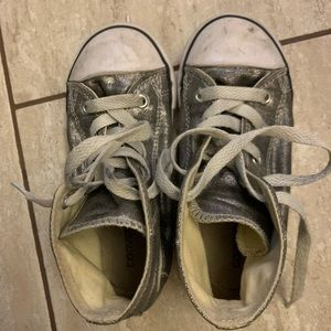 Converse Girls Sneakers size 10, silver
